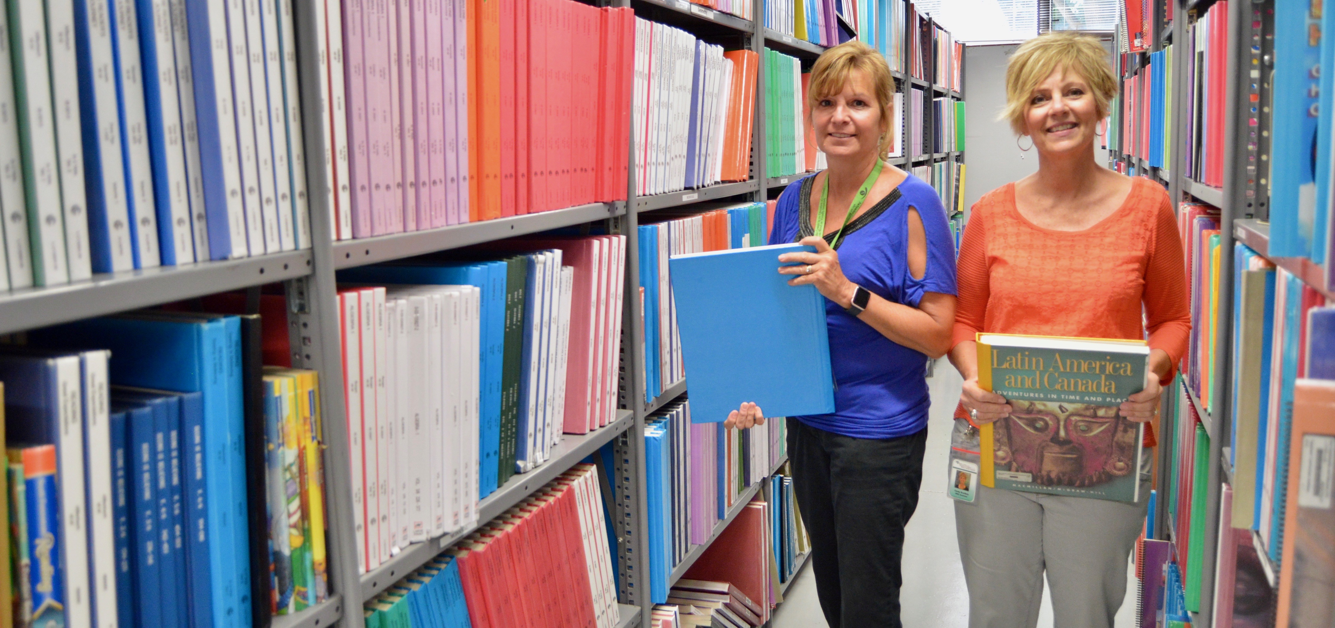 NIRC Coordinator, Susan Pope, reviews material in the Nebraska Instructional Resource Center.